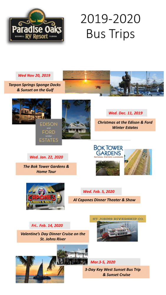 Christmas In The Oaks 2019.2019 2020 Season Trips Special Events Paradise Oaks Rv